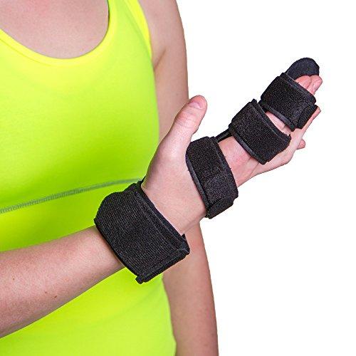 BraceAbility Hand Splint & Two Finger Immobilizer | Buddy Splint to Straighten / Stabilize Joints, Trigger Finger Brace, Broken Finger Cast, Treatment for Sprains, Arthritis, Mallet Tendon Injury (M)