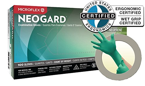 MicroFlex NeoGard Chloroprene Gloves, Small, 100 per Box, 10 Boxes per Case