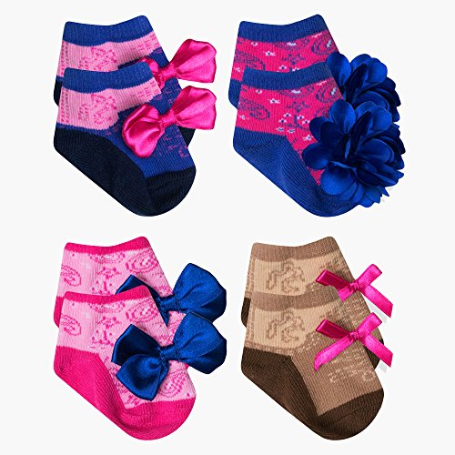 (Baby Essentials Baby Girls Country Western Cowboy Cowgirl Boot Socks 4 Pack 0-6)