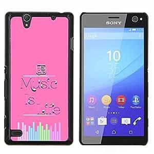 Música Sonido Vida motivación de la cita- Metal de aluminio y de plástico duro Caja del teléfono - Negro - Sony Xperia C4 E5303 E5306 E5353