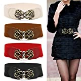 SKYlive Women Belt, Black Wide Metal Buckle Stretchy Elastic Women Belts