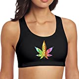 Taalone Women's Sports Bra Yoga Vest Marijuana Tie Dye Weed Breathable Support Running Gym Workout Fitness Jogging