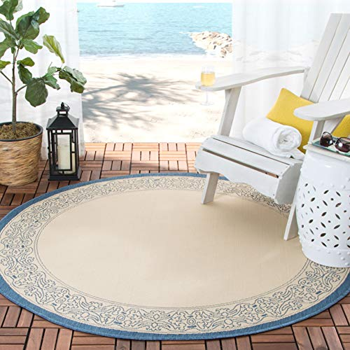 Transitional Outdoor Rug - Safavieh Courtyard Collection CY2099-3101 Natural and Blue Indoor/ Outdoor Round Area Rug (6'7