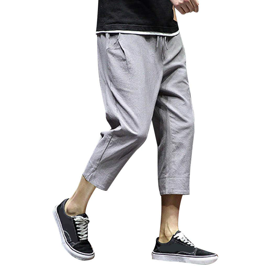 SFE Men's Leisure Pure Color Linen Loose Calf-Length Haren Pants Casual Party Holiday Summer Fashion New 2019 Gray