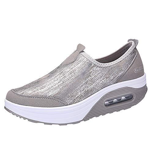 2019 Womens Ladies Thick Backside Platform Wedges Sneakers Sneakers,Informal Comfortable Sole Slip-on Sneakers 5.5-8 (Grey 2, US:6)