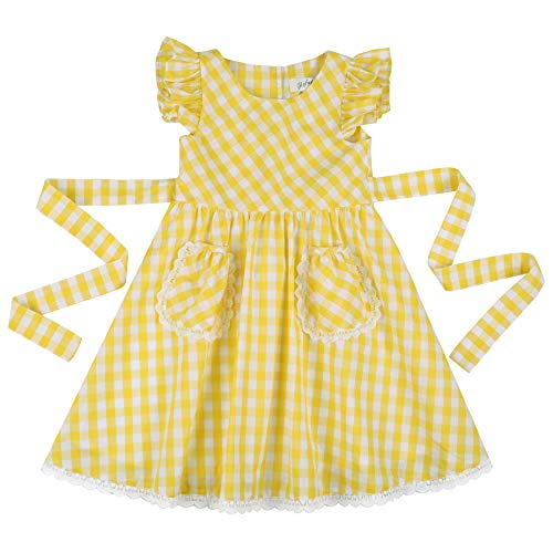 Flofallzique Yellow Gingham Summer Girls Cotton Dress for 1-8 Y Toddler Girls (8, Yellow)