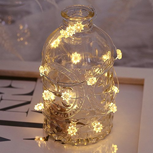 Yaoijin Sunflower Twinkle Lights String Battery Operated Build-in Timer LED String of Lights for Party Warm White Decorative Fairy Lights 30 LEDs Flexible Copper Wire Novelty Lights for Christmas