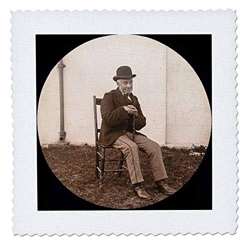 3dRose Scenes from The Past - Magic Lantern - 1890 Photo Gentleman with Derby Cap Vintage Portrait - 10x10 inch Quilt Square (qs_301247_1)