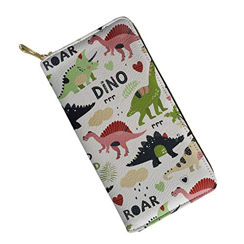 SANNOVO Women RFID Blocking Credit Card Holder Wallet Cartoon Dinosaur Printed Zipper Purse for Girls