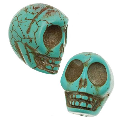 (Turquoise Magnesite (Dyed) Gemstone Beads Carved Skulls 14x18mm (10) )