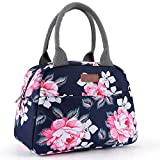 Amersun Lunch Bag for Women Sturdy Insulated Lunch Box Tote|Easy Cleaning Water-resistant Lunch Cooler Snacks Organizer with Pockets for Adults Work Beach Sport Picnic Office College (Peony,Blue)