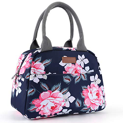 (Amersun Lunch Bag for Women Sturdy Insulated Lunch Box Tote|Easy Cleaning Water-resistant Lunch Cooler Snacks Organizer with Pockets for Adults Work Beach Sport Picnic Office College (Peony,Blue))