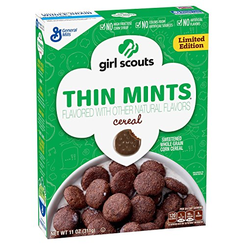 Girl Scouts Cereal - 11 oz! Thin Mint and Caramel Crunch! No Artificial Flavors or Colors! New! Limited Edition! Minty! (Thin Mint)