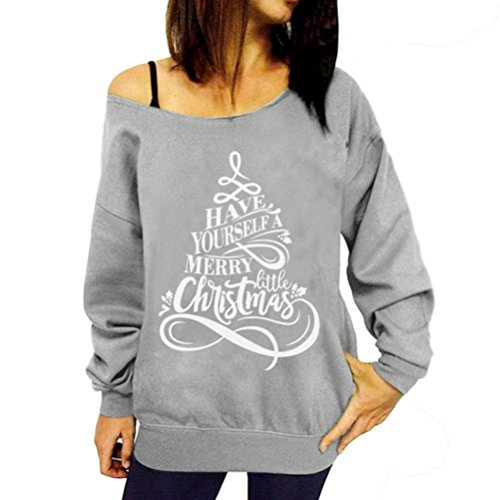 b8cc890356c724 Bluse Damen Weihnachten Top Hoodie Kapuzenpullover Frauen Merry Christmas  Christmas Print Langarm Sweatshirt Pullover Shirt Von