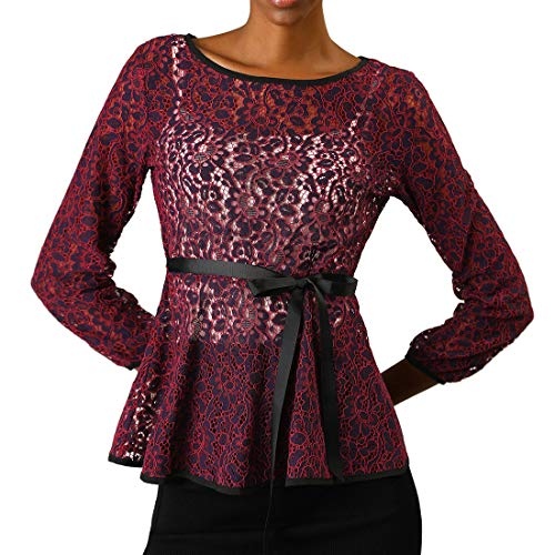 (Allegra K Women's Tie Waist Formal Long Sleeve Semi Sheer Lace Peplum Top XL Purple)