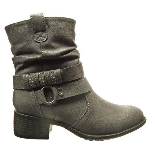 de Botines 4 para Cavalier cm cm Zapatos Diamante Hebilla de alto Negro moda imitación Angkorly Tacón Botín Bloque mujer XqwZRZxz4
