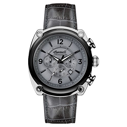 Ingersoll Men's Quartz Stainless Steel and Leather Casual Watch, Color:Grey (Model: I01201)