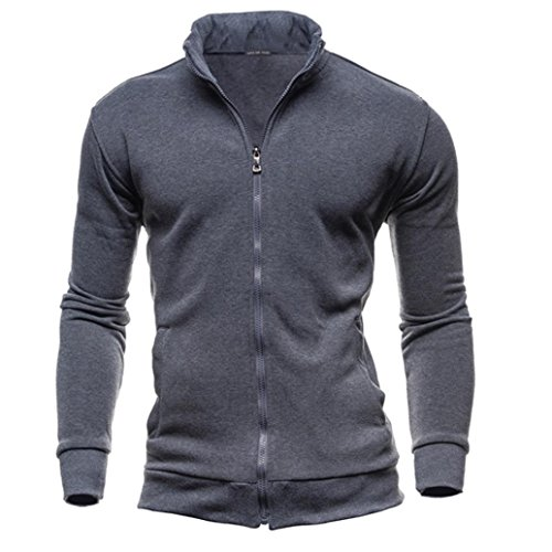 Men'S Tracksuit Men Assassins Creed Hoodies ,Kintaz Men's Autumn Winter Leisure Sports Turtleneck Zipper Sweatshirts Slim Tops Jacket Coat (Dark Gray, L(US Men)) -