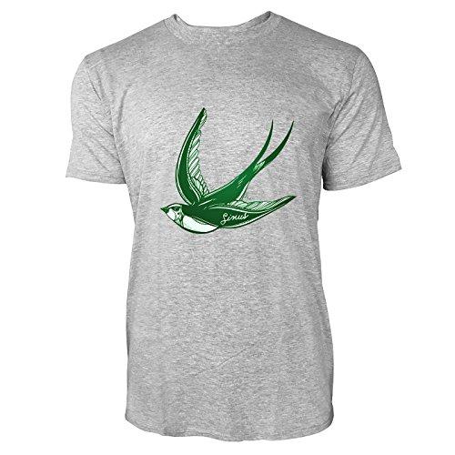 SINUS ART® Fliegende Schwalbe im Tattoo Stil Herren T-Shirts in hellgrau Fun Shirt mit tollen Aufdruck