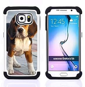 /Skull Market/ - Dog Cute Puppy Pet Paws For Samsung Galaxy S6 G9200 - 3in1 h????brido prueba de choques de impacto resistente goma Combo pesada cubierta de la caja protec -