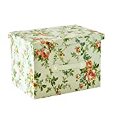 RayLineDo 39L Foldable Storage Box Bag Clothes Storage Box Blanket Closet Sweater Organizer Canvas With Delight Flower Patterns
