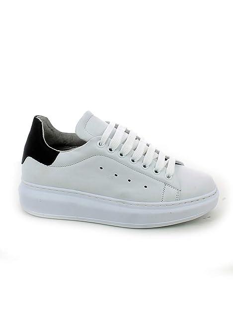 the best attitude a148f c8ca9 LEA-GU - Sneaker in Pelle Bianca con Suola Oversize: Amazon ...