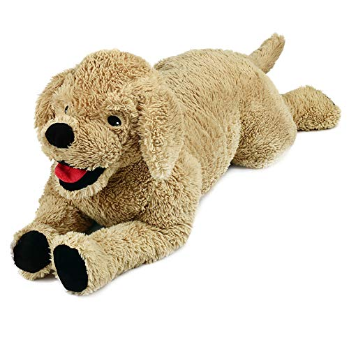 LotFancy 27in Dog Stuffed Animals Plush, Soft Cute Cuddly Golden Retriever Plush Toy, Large Stuffed Dog, Gifts for Kids, Pets, Beige