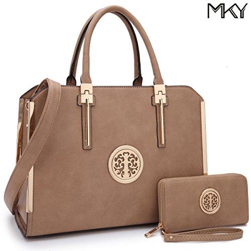Large Satchel Handbag Designer Purse Wallet Set Top Handle Shoulder Bag 2 pieces Dark Beige (Handle Leather Satchel Bag)