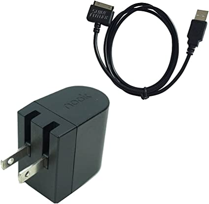 Nook HD Charger Nook Tablet Charging Cable Barnes Noble Power Kit AC Wall Charger Adapter Plus USB Data Cable for Nook HD 7 Inch HD+ 9 Inch BNTV400 ...