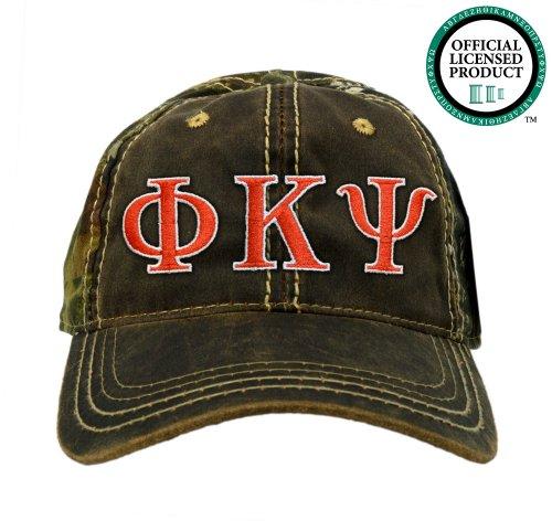 Phi Kappa Psi (Phi Psi) Embroidered Camo Baseball Hat, Various Colors