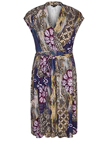 Chicwe Women's Plus Size Cap Sleeves Floral Dress with Belt 18, Multi