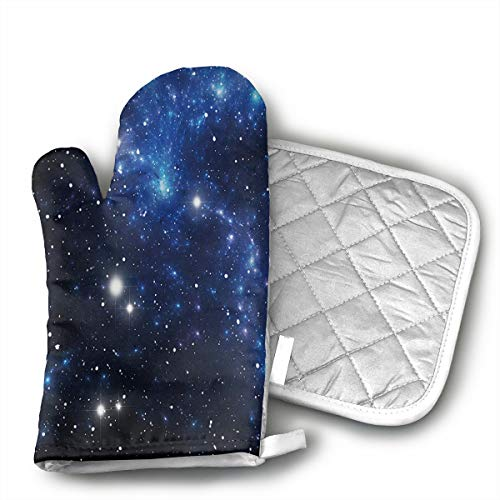 BBQGloves3 Outer Space Star Nebula Astral Cluster Astronomy Theme Galaxy Mystery Shaped Oven Mitts and Pot Holders Set of 2 for Kitchen Set with Cotton Non-Slip Grip