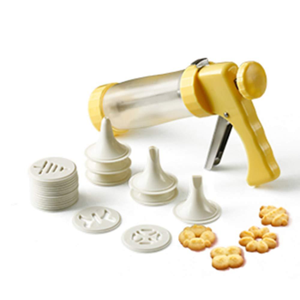 Cookie Maker Press Gun Kit - Multifunctional Comfort Grip Cookie Press Pump DIY Decorating Gun Food Grade Plastic Biscuit Maker Cake Decorating Set with 16 Discs and 6 Icing Tips