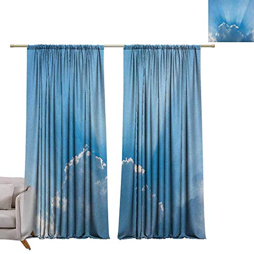 berrly Thermal Insulated Curtains Landscape,Sunburst Silver Lining View Fluffy Clouds in The Summer Sky Nature Picture Print, Blue Gray W96 x L84 Art Blackout Drapes