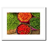 eFrame Fine Art | Vegetables at Street Market Jaipur, India Food Kitchen Art by Blaine Harrington 16'' x 24'' Framed Wall Art for Wall or Home Decor (Black, Brown, White Frame or No Frame)