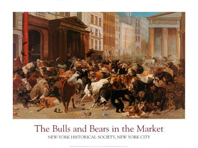 The Bulls and Bears in the Market Art Poster Print by William Holbrook Overall Size: 36x27  Image Size:  (Stock Market Bull And Bear)
