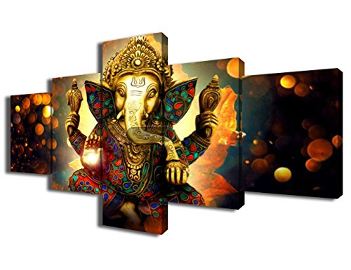 - Ganesha Canvas Wall Art for Living Room 5 Piece Paintings Hindu God Pictures Modern Artwork Home Giclee Decor Posters and Prints Wooden Framed Gallery-wrapped Stretched Ready to Hang(50''Wx24''H)