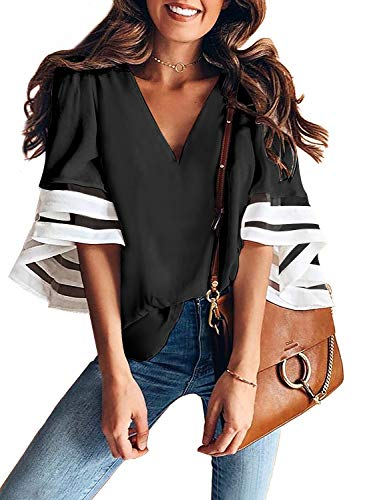 Lace Panel - BLENCOT Women Ladies Sexy V Neck Color Block Lace Panel 3/4 Bell Sleeve Tops Loose Fit Shirt Blouse Black M