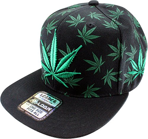 Enimay-Weed-Marijuana-Pot-Leaf-Snapback-Hat-Black-Green-Full-Leaf