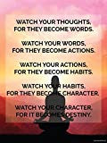 Thoughts to Destiny Motivational Poster (18X24in High Quality Quote Color Inspirational Wall Art)