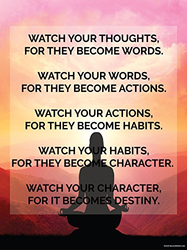 Thoughts To Destiny Motivational Poster  18X24in High Quality Quote Color Inspirational Wall Art