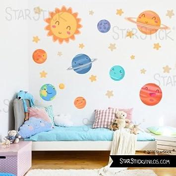StarStick - Wandtattoos für babyzimmer-Planeten kinder - wandsticker - T3 - Groß