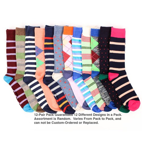 Men's Cotton Fancy Dress Socks, Assorted Dozen Pack One Size - Fancy Dress Stockings