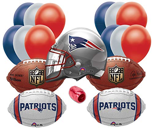New England Patriots Helmet Playoffs Football Party 17pc Balloon Pack, Navy Red