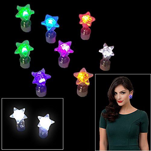 Glow In the Dark LED Earrings - Star Shaped Light Up Stud Earrings For Party Favors, Prizes & Gift Bags - Pack of 4 Assorted Colors - By Dazzling (Camp Counselor Costume)