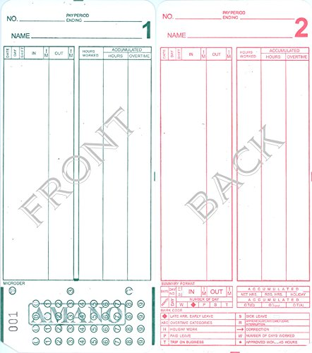 Compumatic Time Recorders - (1000) Amano MJR-7000 and MJR-8000 Time Clock Cards, 000-099 Number Series