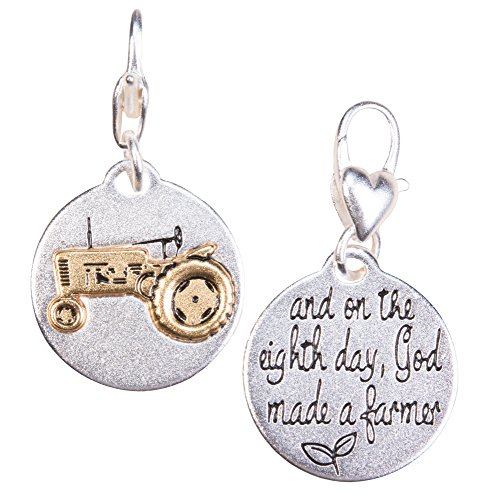 Amanda Blu Tractor Charm Farming Life | and on The Eighth Day, God Made a Farmer | Rustic | Silver 2-Tone Medallion | Women