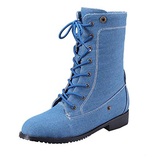 AIYOUMEI Damen Denim Flach Martin Stiefel Lace Up Stiefeletten mit Schnürung und 2cm Absatz Schuhe blau(Denim)