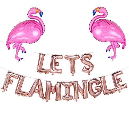 Lets Flamingle Balloons Banner | Lets Flamingle Party Supplies Hawaii Party Decoration -