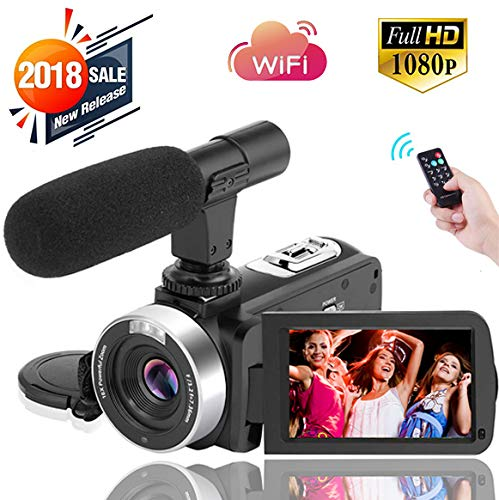 Digital Video Camera WiFi Camcorder Full HD 1080P 30FPS 16X Digital Zoom Vlogging Camera with Microphone 3.00 Rotatable Touch Screen Support Remote Control Time-Lapse Photography